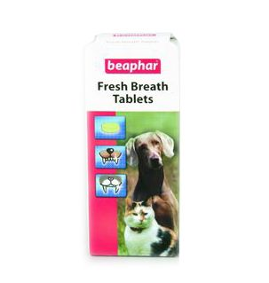Ideal for cats and dogs.  These Breath Freshener Tablets are specially formulated to provide long term action in dogs and cats with breath odour problems.