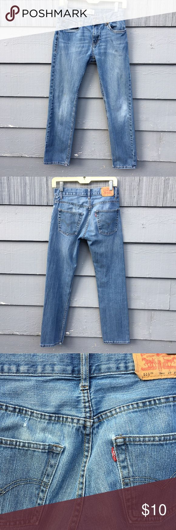 "Levis 511 Skinny Jeans Boys 29x29 Distressed Levis 511 Skinny Jeans, medium wash. Boys size 29x29. Good condition, slight distressing near the back pocked, no holes. Please see pics. Waist: 29"" Rise: 9"" Inseam: 29"" Levi's Jeans Skinny"