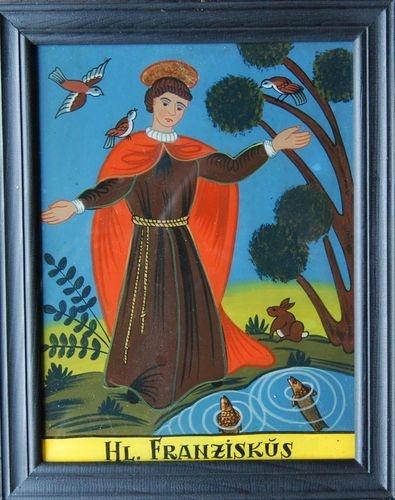 Der Heilige Franziskus - Hinterglasbild des 20.Jahrhunderts | eBay