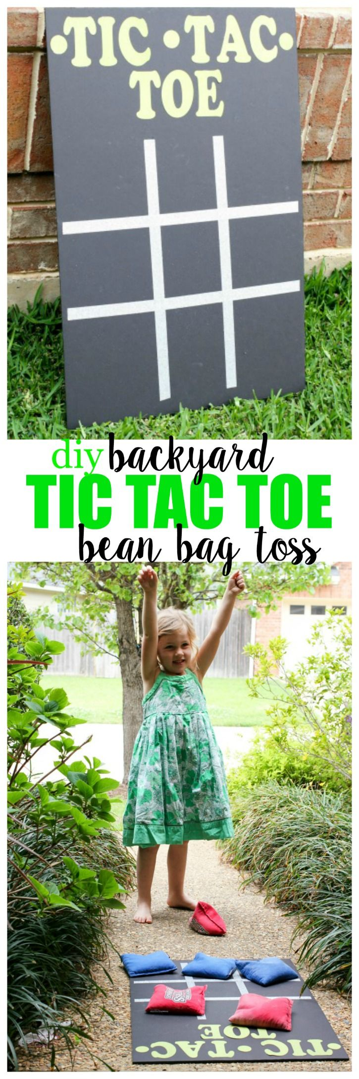 DIY Backyard Tic Tac Toe Bean Bag Toss - Quick and easy, and great for indoors, or outside!