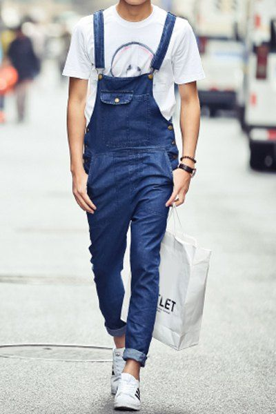 Fashion Narrow Feet Fitted Bleach Wash Pockets and Button Design Denim Overalls For Men  199flags.com Men's Fashion