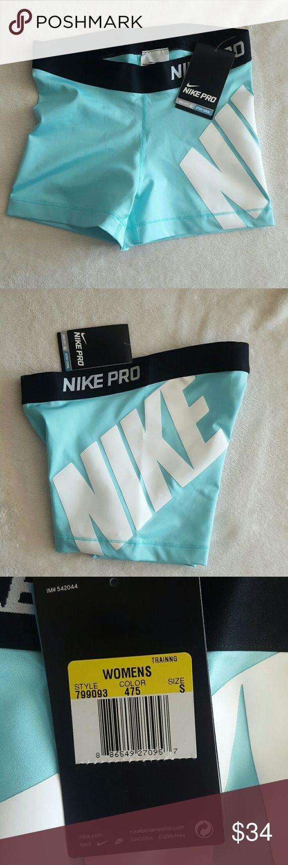 Nike pro drifit shorts Turquoise white and black spandex shorts Nike Shorts