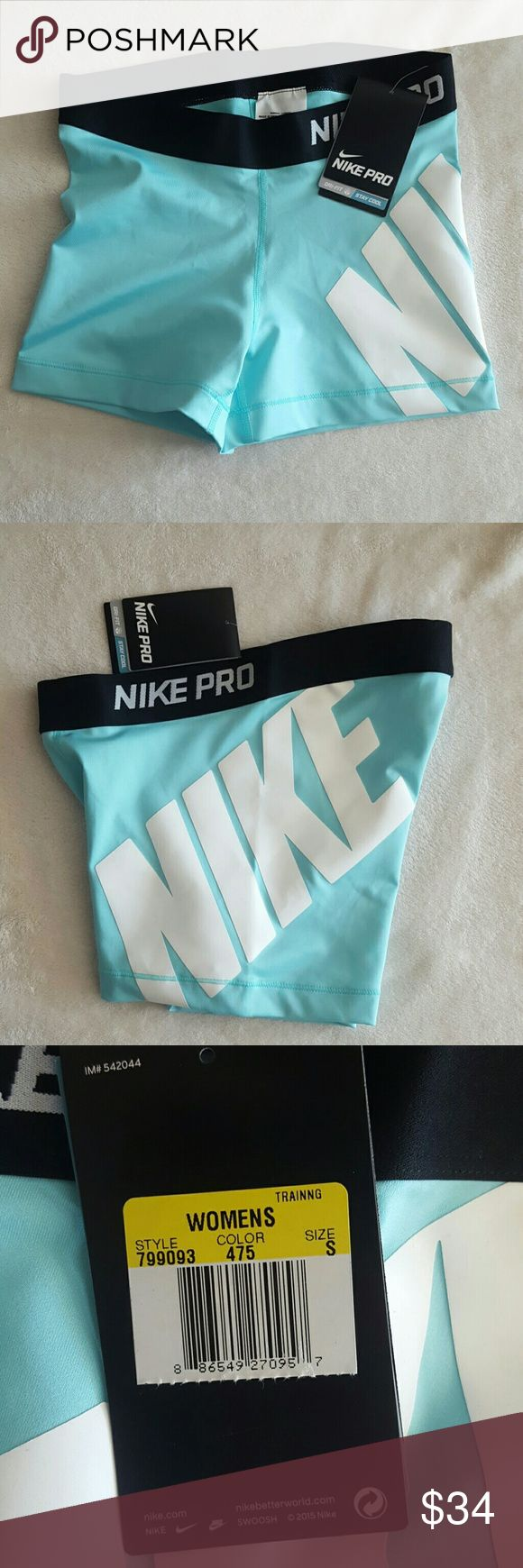 Nike pro drifit shorts Turquoise white and black spandex shorts Nike Shorts