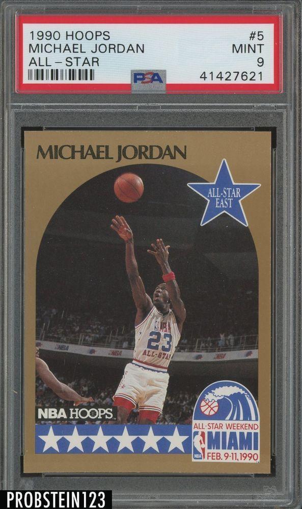 03e0a8a3b1e 1990 Hoops All Star  5 Michael Jordan HOF Chicago Bulls PSA 9 MINT ...