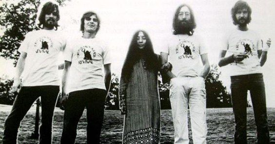 12th September 1969. Klaus Voormann, Andy White and Eric Clapton join John and Yoko in the Plastic Ono Band while Canada.