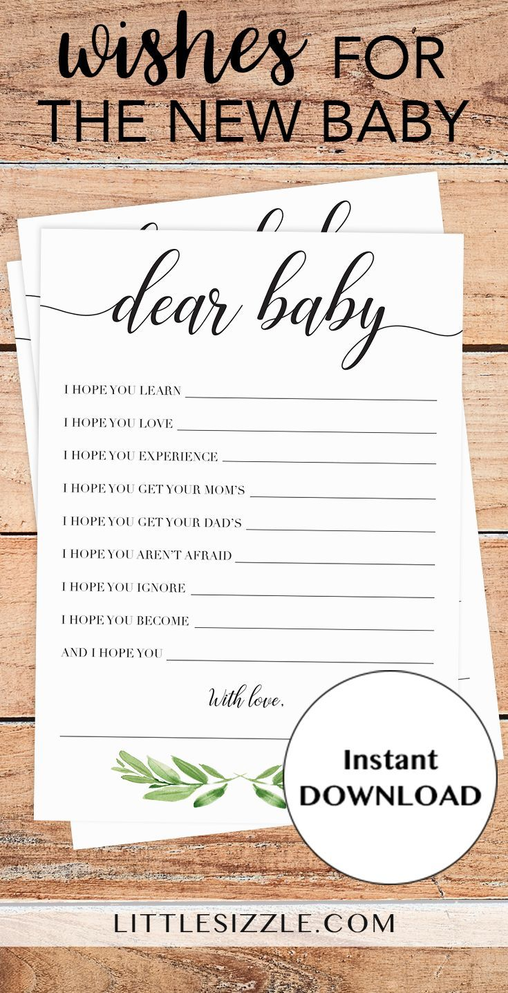 neutral baby shower baby wishes printable by littlesizzle greenery themed baby shower wish cards for the new baby create a magnificent keepsake with this