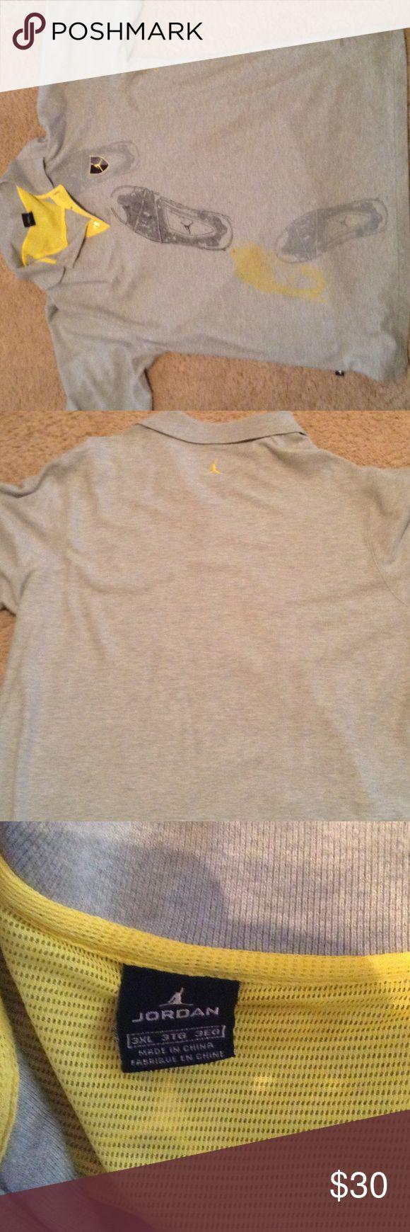 Michael Jordan button up Shirt Gray and Yellow Polo Shirt, Jordan Brand Jordan Shirts Polos