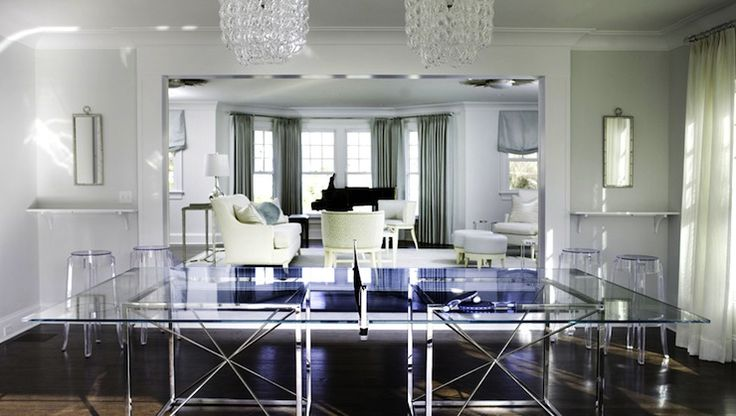 Morgan Harrison Home   Media Rooms   Giogali Chandelier, Clear Acrylic  Barstool, Game Rooms, Modern Ping Pong Tables, Glass Ping Pong Tables.