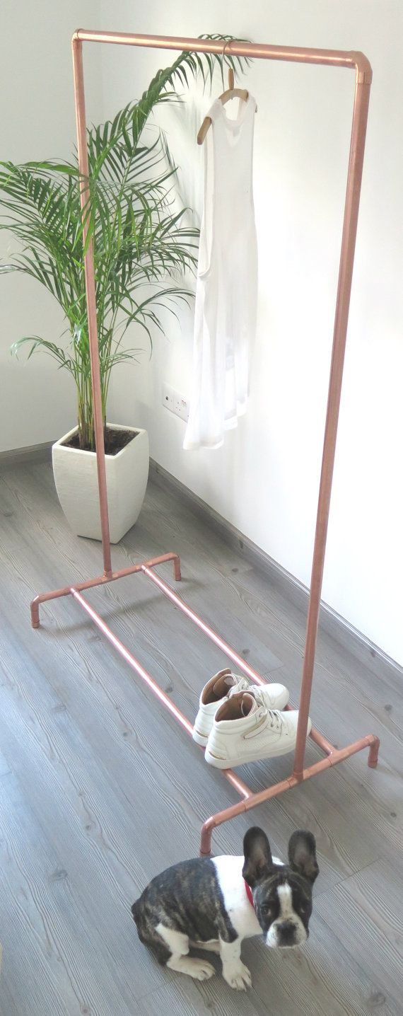 Industrial Copper Pipe Clothing/Garment Rack with by moodymarsh
