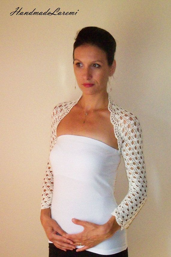 Lace BRIDAL BOLERO / Ivory WEDDING Shrug / Crochet Lace Bolero Jacket /Wedding Ivory Bolero / Crochet Bridal Shrug / Cotton Bolero Jacket. $87.00, via Etsy.