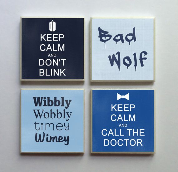 Doctor Who Fandom - Ceramic Tile 4-pc. Refrigerator Memo Magnet Set Magnets - Keep Calm Don't Blink Bad Wolf Timey Wimey on Etsy, $10.50