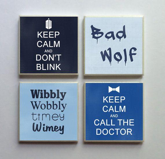 Doctor Who Fandom - Ceramic Tile 4-pc. Refrigerator Memo Magnet Set Magnets - Keep Calm Don't Blink Bad Wolf Timey Wimey on Etsy, $10.50