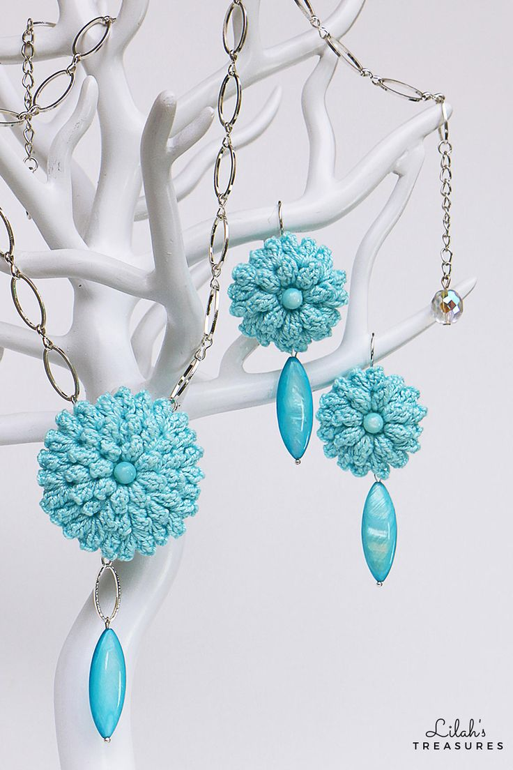 By learning to crochet only one flower, you can create a gorgeous necklace and earrings set!