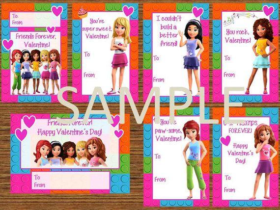 Printable Lego Friends Valentine's Cards by HappeninHooligans