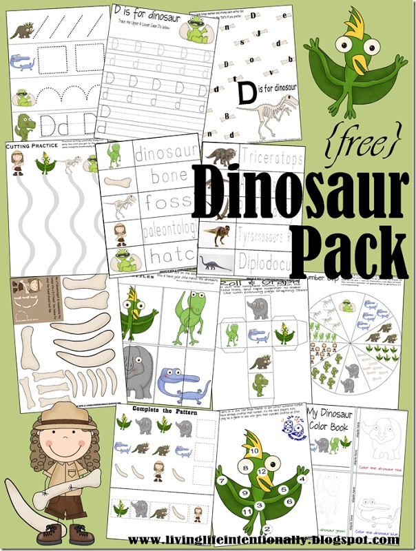 {free} 40 page #dinosaur pack with #learning #activities for kids 2-7 years old. Great for #preschool!