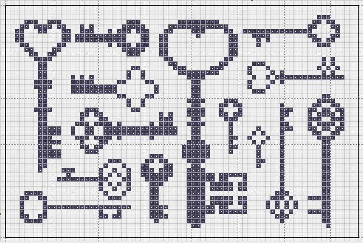 Key Cross Stitch Patterns #keys #crossstitch