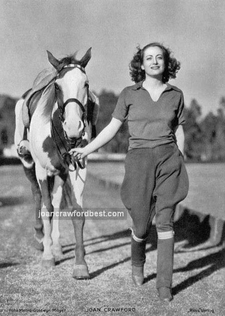 2/7/38. With polo pony. Joan Crawford Celebrities Famous People Riding Horses. Learn about #HorseHealth #HorseColic www.loveyour.horse