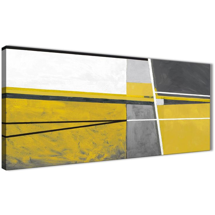 Panoramic Mustard Yellow Grey Painting Living Room Canvas Wall Art Accessories - Abstract 1388 - 120cm Print