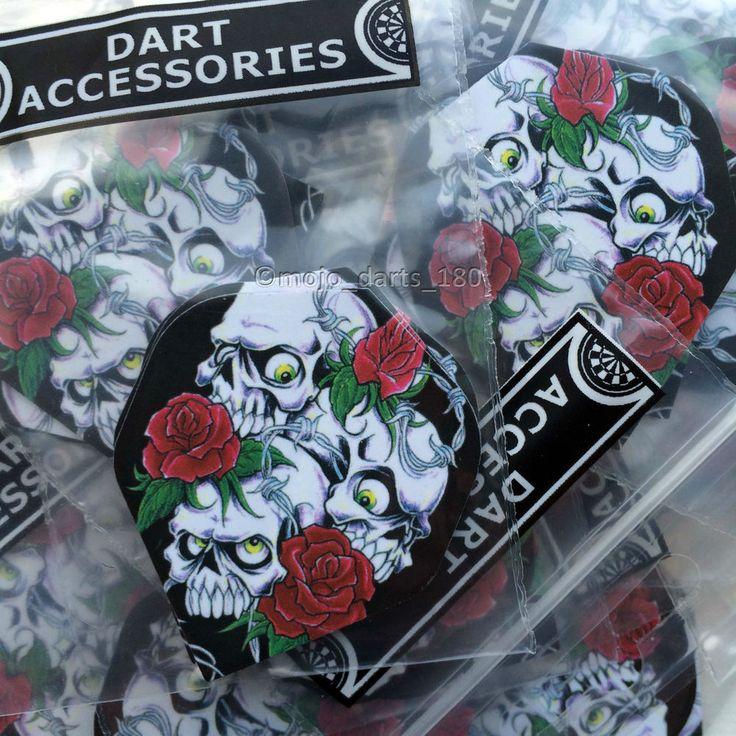 5 sets of DART FLIGHTS Skulls Roses STANDARD SHAPE Designa Metronic Mojo DARTS #darts