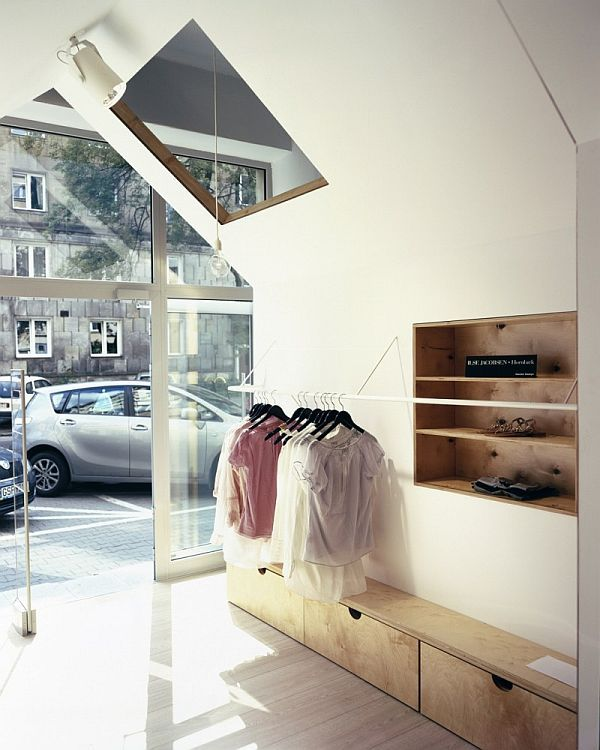Fiu Boutique By Mateusz Adamczyk And Marcin Kwietowicz I Like The Idea Of White Colour Walls With Inset Wood Shelves
