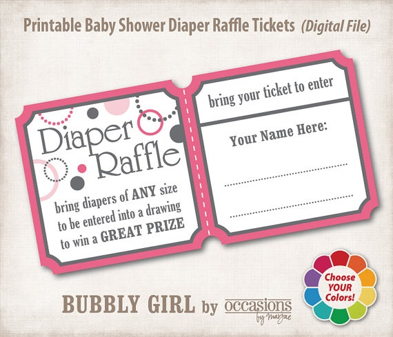 Baby Shower Diaper Raffle: INSTANT DOWNLOAD, Printable Baby Shower Diaper Raffle