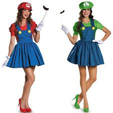 Super Mario AND Luigi Workmen Couples Fancy Dress Adult Womens Costumes Outfits