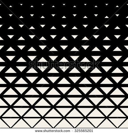 Vector Seamless Black And White Triangle Grid Halftone Pattern Background