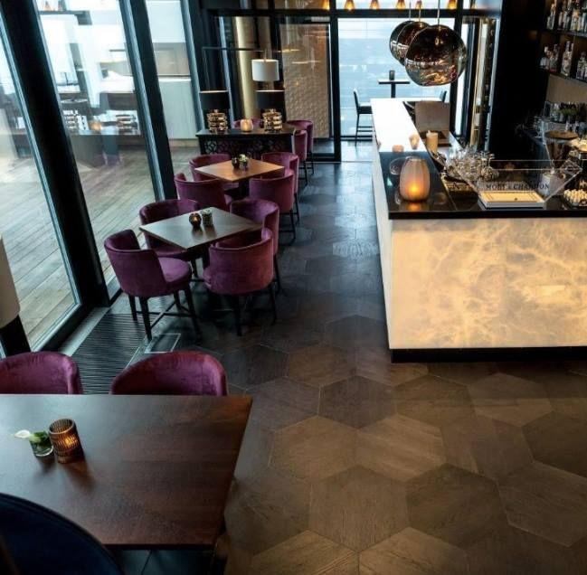 #DesignInspiration: The STP Oak Black Pearl Hexagonal flooring on display at the Trendy Restaurant in Oslo.