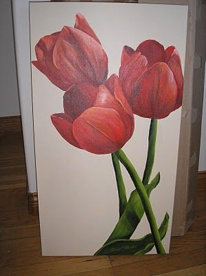 tulip painting for top of stairs