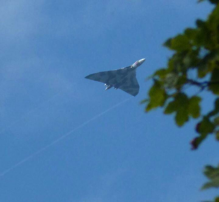 Vulcan bomber flying over the Isle of Man en route to a display in Northern Ireland