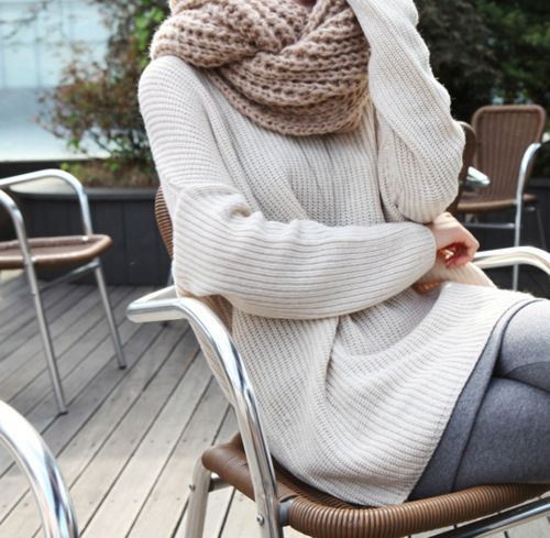 Cozy sweater and scarf!