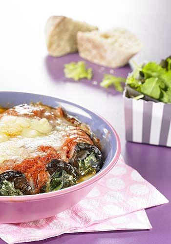 Auberginecannelloni met spinazie en ricotta
