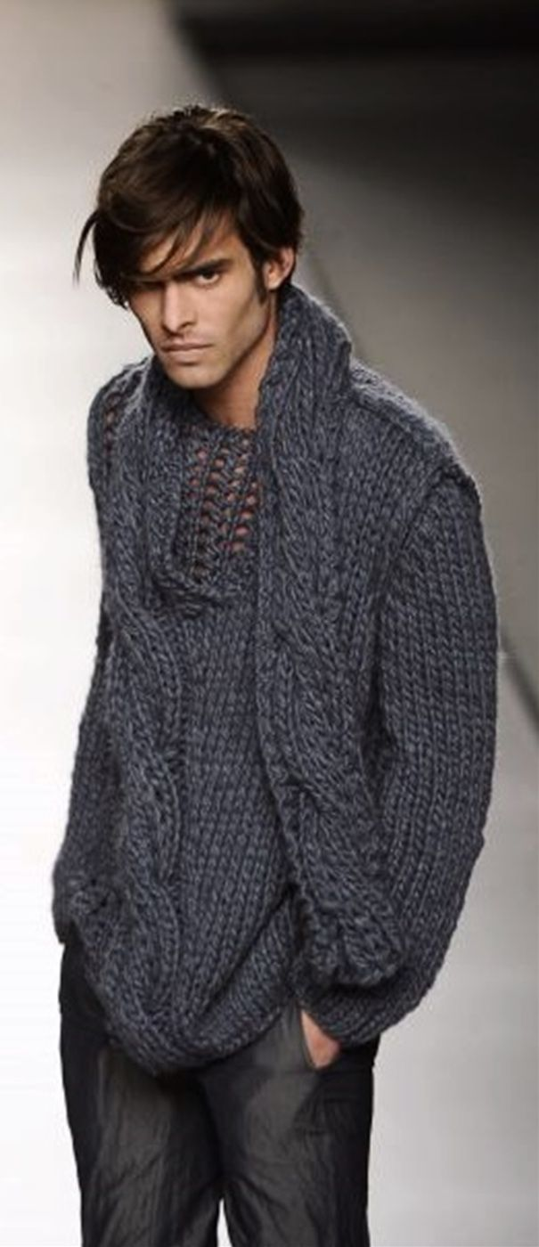 Inspiration ~ Such an innovative knit here and could be incorporated into any plain knit pattern whereby having a large angled cable which travels beyond the sweater, becoming a scarf.... awesome! AJ