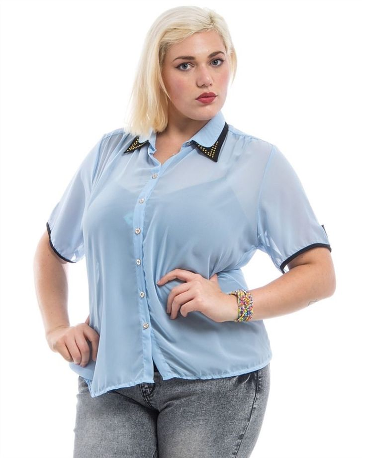 Women Sheer Button Shirt Top PLUS SIZE  3X Short Sleeves Studded Collared Neck  #LAMJYA #ButtonDownShirt #Career