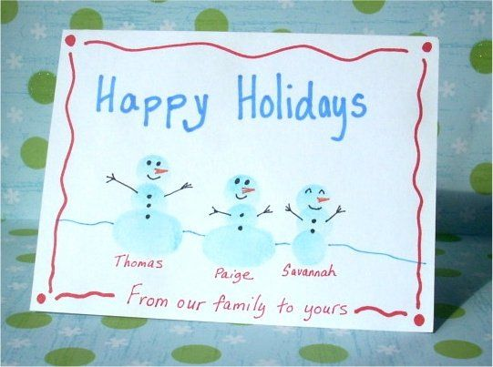 Home made Christmas Card using Snowman Fingerprint Caricatures