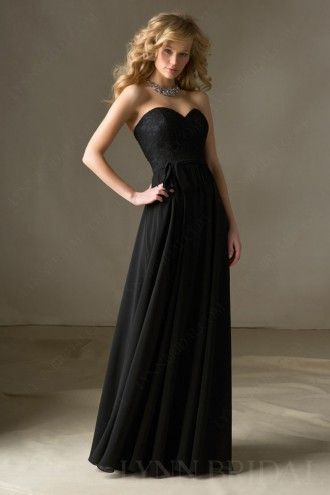 Black A Line Sweetheart Lace Chiffon Floor Length Long Bridesmaid Dress