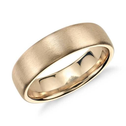 matte modern comfort fit wedding ring in 14k yellow gold 65mm - Wedding Rings Mens