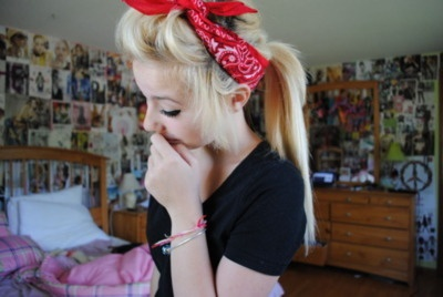 love the hair, just cant find any bandannas and i live in texas...seesh but it was just rodeo time