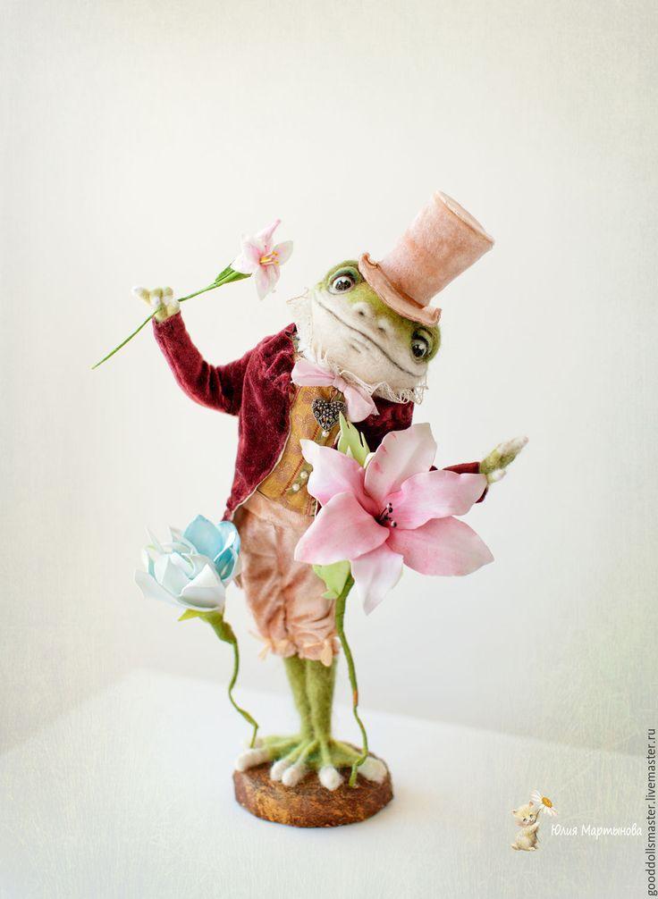 Купить Лягушонок джентельмен по имени Джон) - оливковый, зеленый цвет, лягушка…