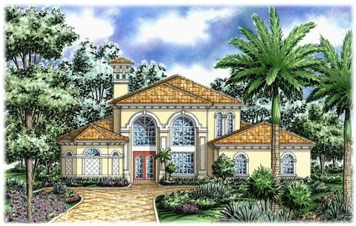 The Livorno House Plan epitomizes contemporary Mediterranean styling. Large gently curved windows flood the living spaces with sunlight beneath high, coffered and beamed ceilings. The secluded master suite is well appointed with a large garden double shower. Two more bedrooms, loft recreation area, study with bath open to the lanai, and an oversized three car garage provide plenty of room for the entire family in this wonderful home plan.