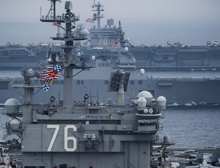 https://flic.kr/p/VkFjEF | 170601-N-GD109-421 | SEA OF JAPAN (June 1, 2017) The Carl Vinson Carrier Strike Group, including the aircraft carrier USS Carl Vinson (CVN 70), Carrier Air Wing (CVW) 2, the guided-missile cruiser USS Lake Champlain (CG 57) and the guided-missile destroyers USS Wayne E. Meyer (DDG 108) and USS Michael Murphy (DDG 112), operates with the Ronald Reagan Carrier Strike Group, including USS Ronald Reagan (CVN 76), CVW-5, USS Shiloh (CG 67), USS Barry (DDG 52), USS…