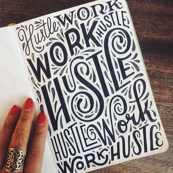 Lettering inspiration—Work hustle sketches by @homsweethom hustle work, work hustle, hustle—you get the idea, love this hand drawn type.