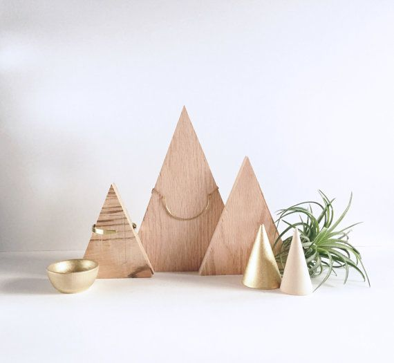 Wood Triangle Necklace Display Minimal Design by WoodCreekCo