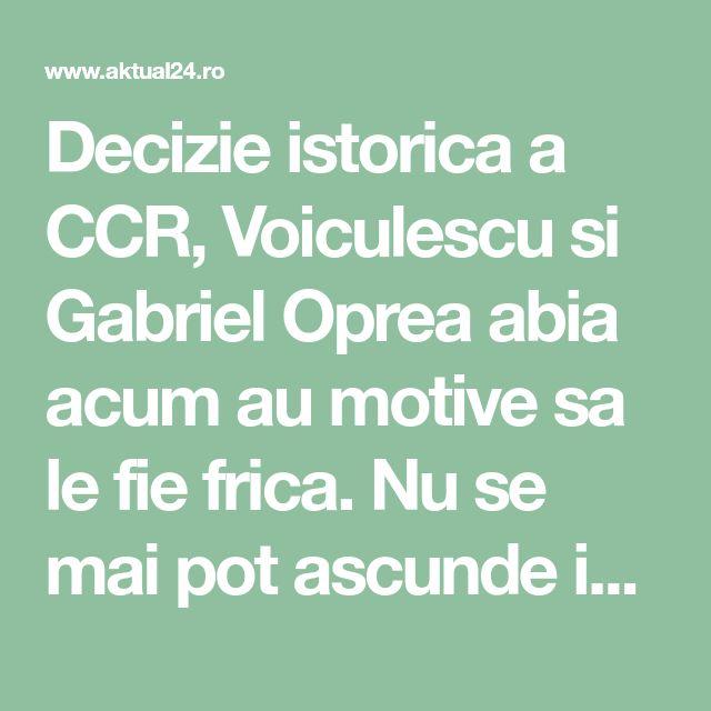 "Decizie istorica a CCR, Voiculescu si Gabriel Oprea abia acum au motive sa le fie frica. Nu se mai pot ascunde in spatele ""informatiilor clasificate"" - Aktual24"