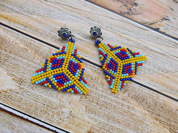 Colorful earrings gift for her colorful jewelry beadwork