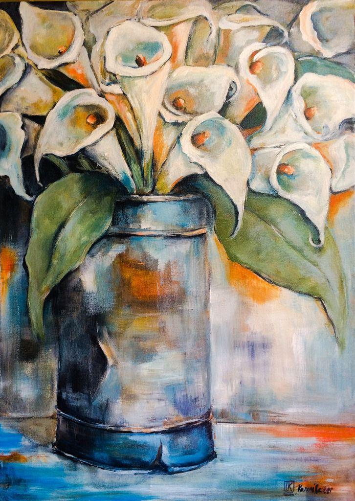 Arum lillies in a Tin