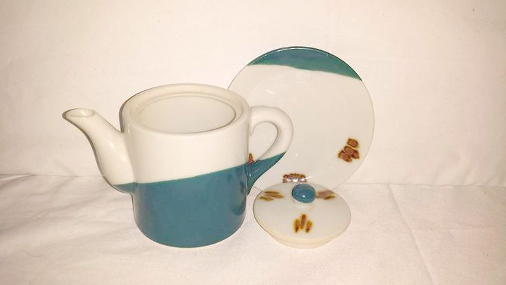 Vintage Blue & Brown Pottery,Stoneware Teapot,Blue,Rust,Teapot and Underplate,Pottery,Stoneware, Southwestern Teapot, Rustic, Primative by JunkYardBlonde on Etsy