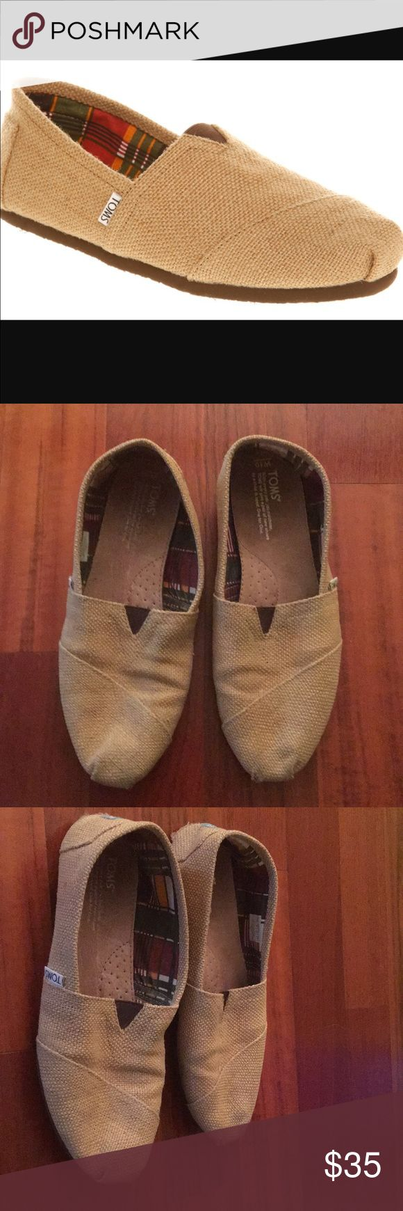 Burlap TOMS size Women's 10 Burlap TOMS Size 10 women's. Looks brand new, now wear. Worn once on airplane flight for comfy shoes, so virtually no wear. Great color goes with most any outfit. I actually wore with all white looked super cute. Comes with dustbag & tags. Toms Shoes Flats & Loafers