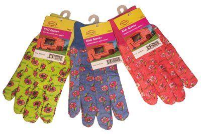 G & F 1823-3 JustForKids Soft Jersey Kids Garden Gloves Kids Work Gloves 3 Pairs Green/Red/Blue per Pack