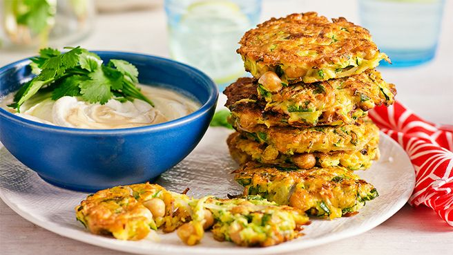 Chickpea and zucchini fritters: Infused with mint, each bite packs a light and zesty zing of flavour.